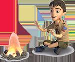 Cub Scout in a tent